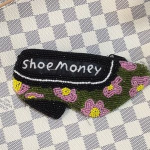 Beaded shoe money shoe zip coin purse nwot